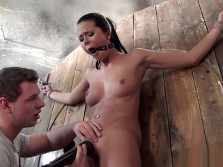 Tiedup Slave Pussylicked By Dom Before Toyed bdsm brunette fetish video
